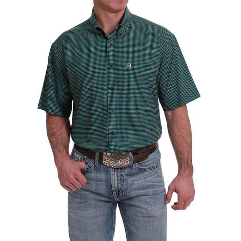 Cinch ArenaFlex Dark Green and Navy Mens Short Sleeve Shirt