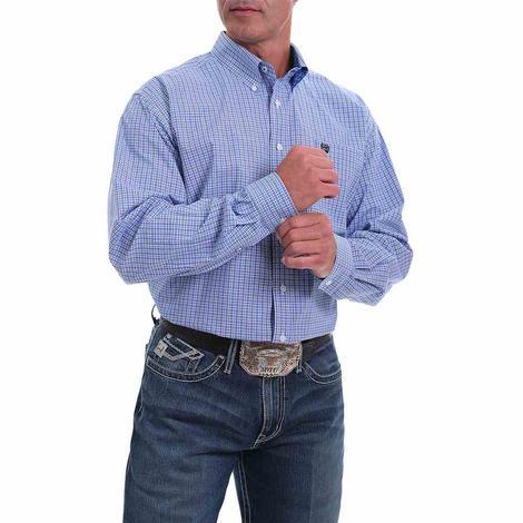 Cinch Royal Blue Plaid Long Sleeve Buttondown Men's Plus Size Shirt