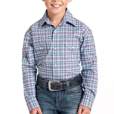 Panhandle Red Blue Plaid Long Sleeve Snap Boy's Shirt