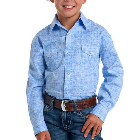 Panhandle Light Blue Print Long Sleeve Snap Boy's Shirt