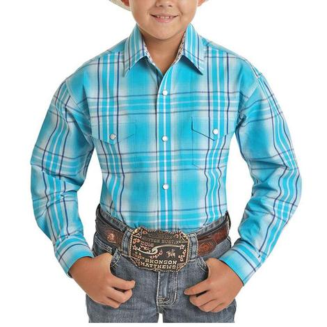 Panhandle Turquoise Plaid Long Sleeve Snap Boy's Shirt