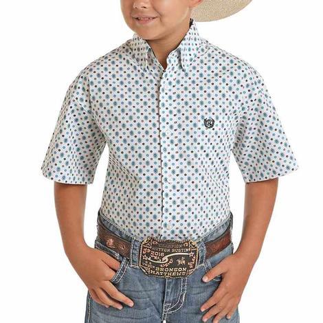 Panhandle White Blue Print Short Sleeve Buttondown Boy's Shirt