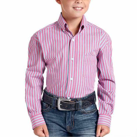 Panhandle Pink Pinstripe Long Sleeve Buttondown Boy's Shirt