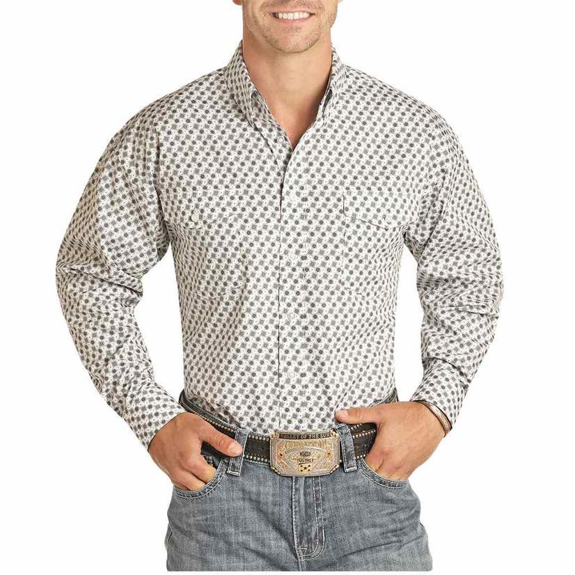 Panhandle Green White Print Long Sleeve Buttondown Men's Shirt