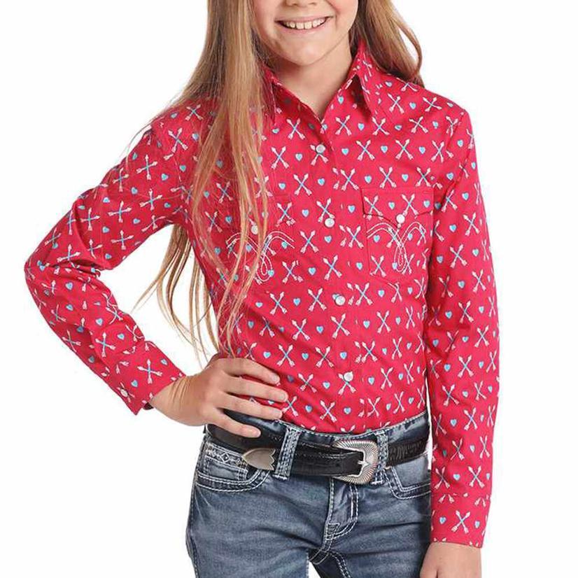 Panhandle Slims Hot Pink Arrow Print Girl's Long Sleeve Shirt