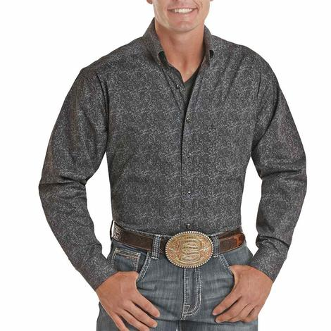 Panhandle Tuf Cooper Charcoal Paisley Print Long Sleeve Buttondown Men's Shirt