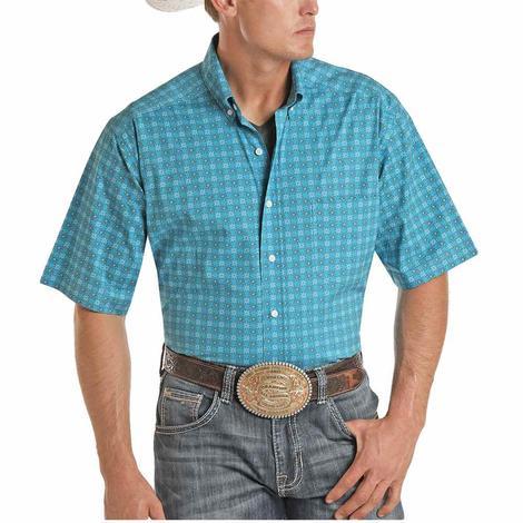 Panhandle Tuf Cooper Turquoise Print Short Sleeve Buttondown Men's Shirt