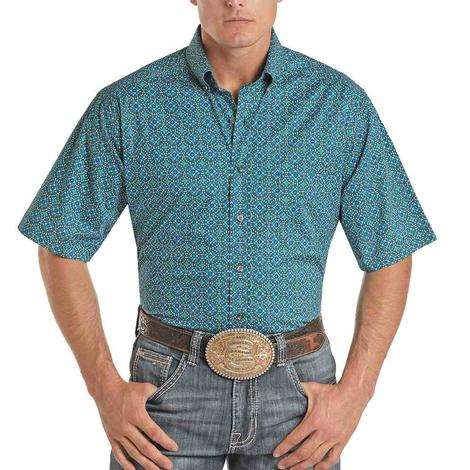 Panhandle Tuf Cooper Turquoise Teal Print Short Sleeve Buttondown Shirt