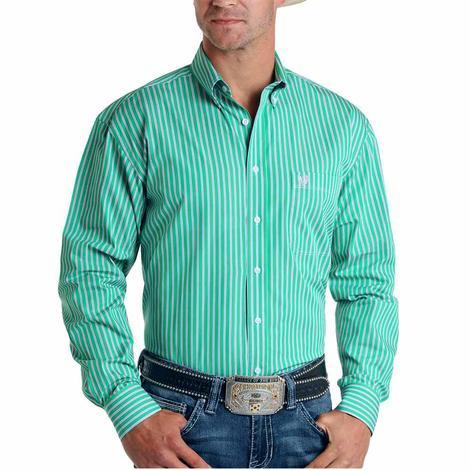 Panhandle Green Pinstripe Long Sleeve Buttondown Men's Shirt