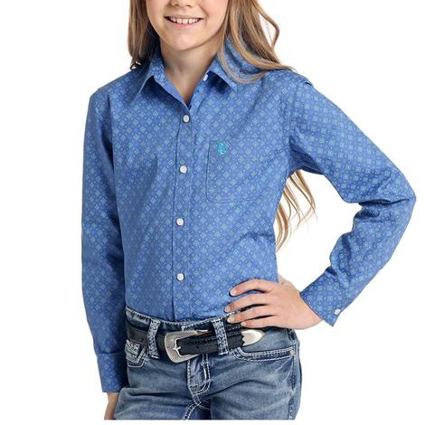 Panhandle Blue Print Long Sleeve Buttondown Girl's Shirt
