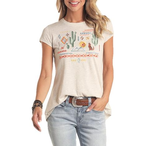 Panhandle Oatmeal Cactus Embroidered Short Sleeve Women's Shirt