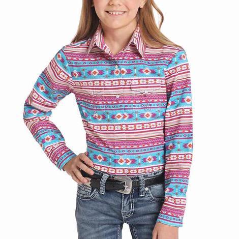Panhandle Slim Turquoise Pink Serape Girl's Long Sleeve Shirt