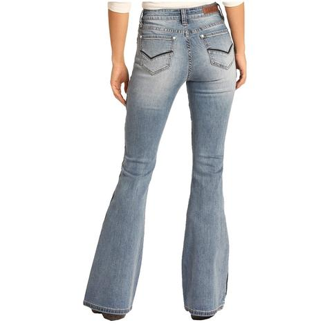 Rock and Roll Cowgirl Medium Wash High Rise Flare Leg Women's Jeans