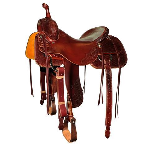 STT Custom Cutter Half Tooled Mahogany Texas Two-Step Saddle