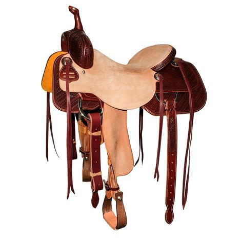 STT Custom Cutter Mahogany Half Tool Texas Two-Step Half Natural Roughout Saddle