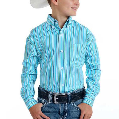 Panhandle Turquoise Striped Long Sleeve Buttondown Boy's Shirt