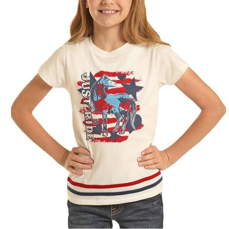 Rock and Roll Cowgirl White Just Ride Tee