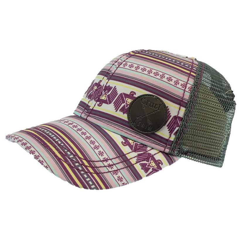 Cruel Girl White Purple Aztec Print Meshback Grey Cap