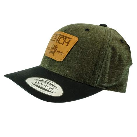 Cinch Green with Leather Patch Snapback Cap