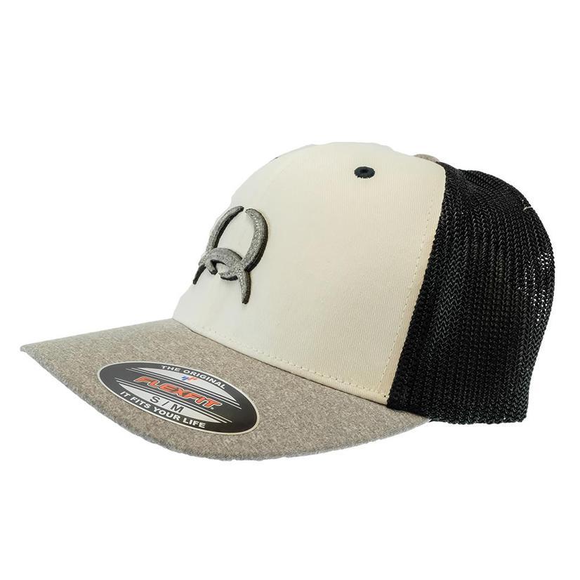 Cinch Flexfit White Black Heather Grey Meshback Men's Cap