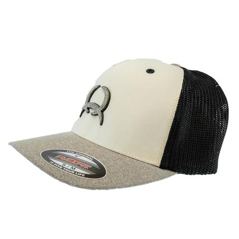 Cinch Flexfit White Black Heather Grey Meshback Men's Cap