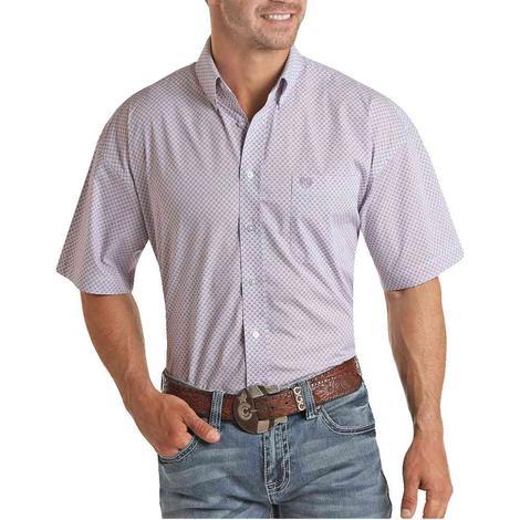 Panhandle Lilac Print Short Sleve Buttondown Men's Shirt