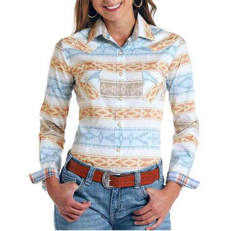 Panhandle Southwest Aztec Stripe Long Sleeve Buttondown Women's Shirt