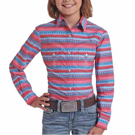 Panhandle Pink Blue Aztec Stripe Long Sleeve Snap Girl's Shirt