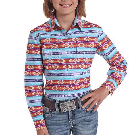 Panhandle Orange Turquoise Aztec Print Long Sleeve Buttondown Girl's Shirt