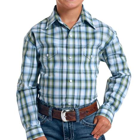 Panhandle Green Blue Plaid Long Sleeve Snap Boy's Shirt