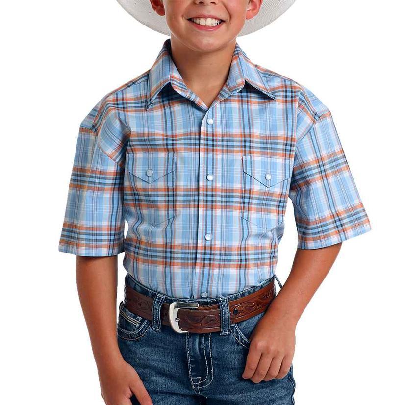 Panhandle Blue Orange Plaid Short Sleeve Snap Boy's Shirt