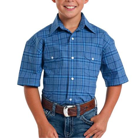 Panhandle Navy Plaid Short Sleeve Snap Boy's Shirt