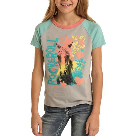 Rock and Roll Cowgirl Grey Rock and Roll Horse Tee