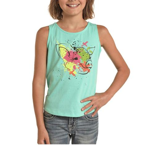 Rock and Roll Cowgirl Turquoise Pig Girl's Tank