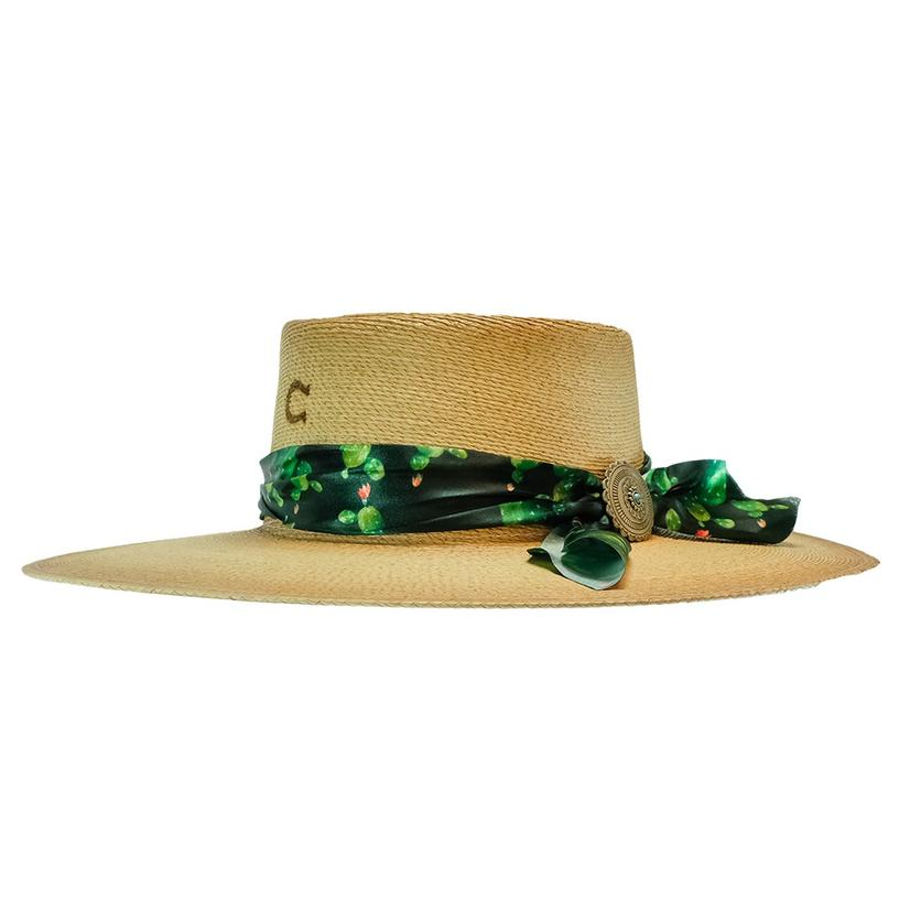 Charlie 1 Horse Cantina Flat Green Black Scarf Trim Straw Hat
