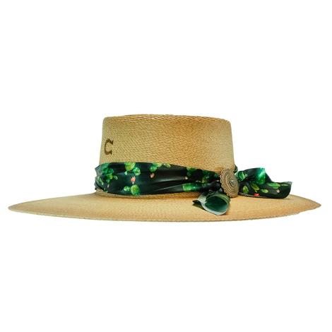 Charlie 1 Horse Cantina Flat Green Black Scarf Trim Straw Hat