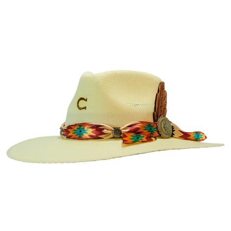 Charlie 1 Horse Navajo Aztec Scarf Trim Straw Hat