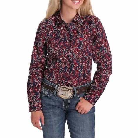 Cinch Navy Red Floral Print Long Sleeve Buttondown Women's Shirt