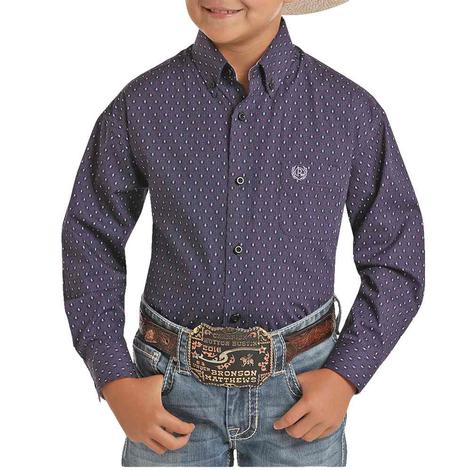 Panhandle Dark Purple Print Long Sleeve Buttondown Boy's Shirt