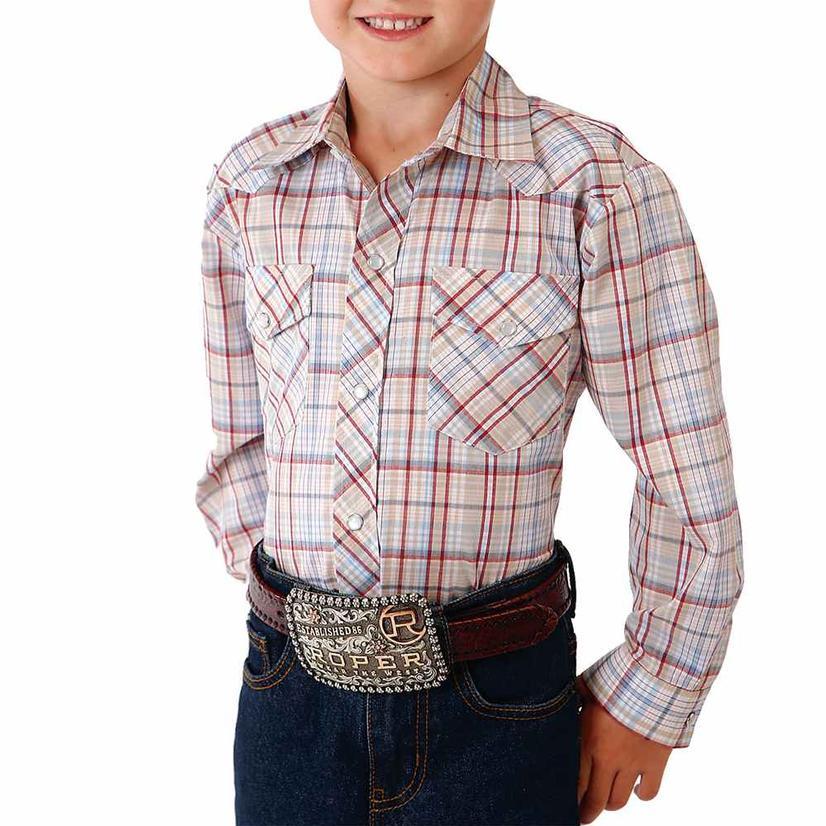 Roper Tan Red Plaid Long Sleeve Snap Boy's Shirt