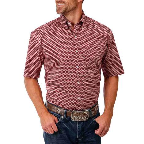 Roper Red Print Short Sleeve Buttondown Men's Shirt