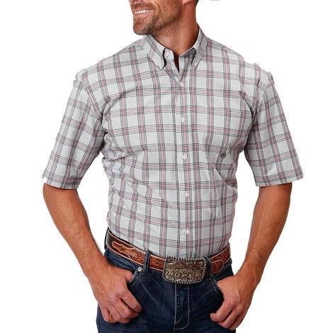Roper Grey Pink Plaid Short Sleeve Buttondown Men's Shirt