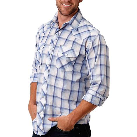 Roper White Blue Plaid Long Sleeve Snap Men's Shirt