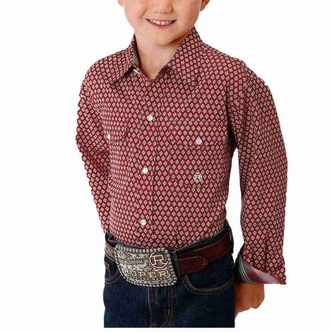 Roper Red Print Long Sleeve Snap Boy's Shirt