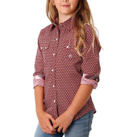 Roper Red Print Long Sleeve Snap Girl's Shirt