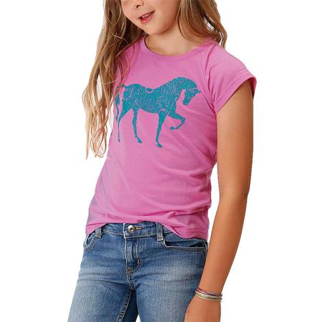 Roper Pink Horse Graphic Tee for Girls