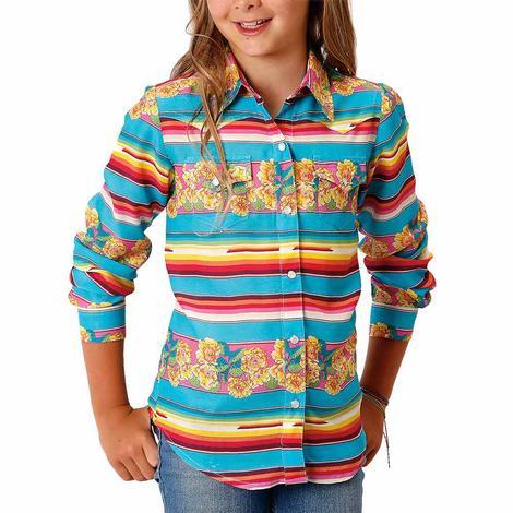 Roper Blue Yellow Floral Print Long Sleeve Snap Girl's Shirt