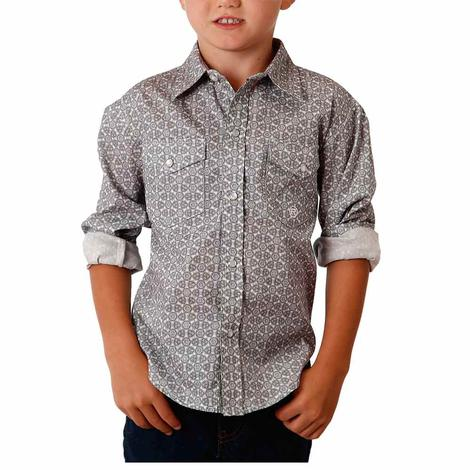 Roper Boy's Grey Print Long Sleeve Snap Boy's Shirt
