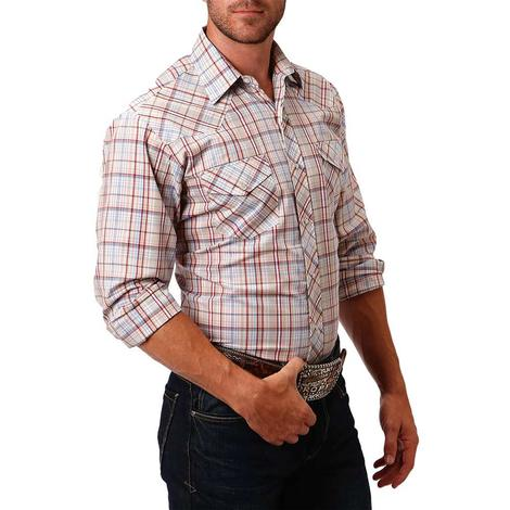 Roper Tan and Red Plaid Long Sleeve Snap Men's Shirt
