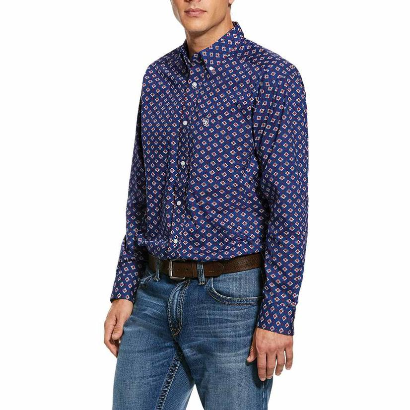 Ariat Glenvar Stretch Blue Print Men's Shirt
